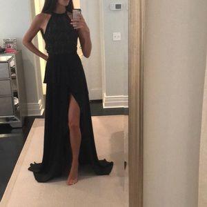 Stylestalker halter black beaded maxi dress small